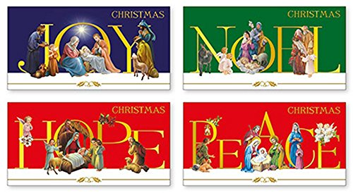 Kerstkaarten - Gouden Gestempelde Kerstkaarten Doos - Vrede - Vreugde - Hoop