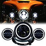 7 Inch Round LED Motorcycle Headlight with 4.5 Inch Passing Lamps Fog Lights Mounting Ring for Harley Davidson Touring Road King Ultra Classic Electra Street Glide Tri Cvo Heritage Softail Slim, Black