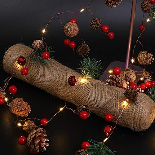 Luces Led Decorativas Navideña, Guirnalda Luces con Piñas de Abeto Cadena de Luces de Bayas Rojas y Conos de Pino Luz Blanca Cálida Perfecta para Interior Exterior Jardín Habitación Árbol de Navidad