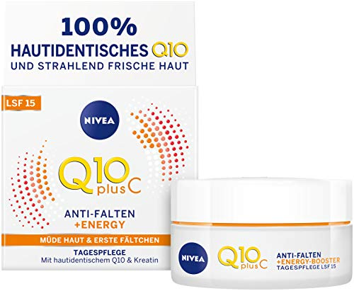 Nivea anti-arrugas Día de cuidado facial con factor de protección solar 15, Tiegel, Q10 + C Energy, 2 unidades (2 x 50 ml)