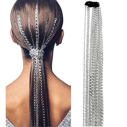 GSYYSZD Lange Haarkette, Extensions Multi Strang Silberkette Punk Hip-Hop Pferdeschwanz Quaste Party Mode Kopfschmuck Metall Nicht verblassen Mädchen Stirnband Haarspange Perlenstrang