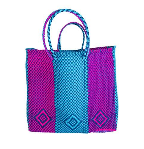 OTOMI MEXICO - Bolsa de playa - Bolsa de playa azul y rosa - Beach Bag - Beach Tote Bag
