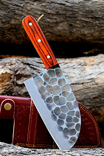 Handmade forged Carbon Steel butcher Serbian Cleaver Chopper Kitchen Chef Knife Pakka Wood Handle comes with Leather Sheath DW4095