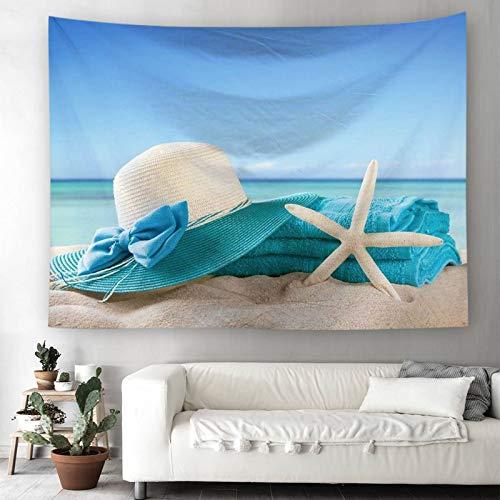 Bishilin Wandbehang Outdoor 180×230cm Tapisserie Hippie aus Polyester Strohhut Seestern am Strand Wandteppich Psychedelic Tapisserie Tuch Polyester