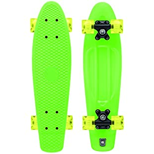 Xootz Kid'S Complete Retro Plastic Skateboard With Led Light Up Wheels - Green, 22-Inch:Shizuku7148