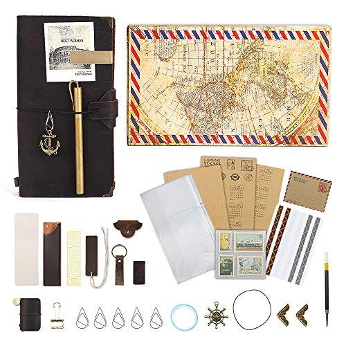 GRT Leder handgefertigte Reisende Notizbücher füllen Reise-Logs Vintage-Rindsleder Bücher Scrapbook DIY Sketch Retro-Stil kreative Accessoires Geschenk für Männer und Frauen