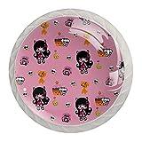 Manija de cajón perilla de tocador perilla de cajón perillas de gabinete tiradores de cajón para decoración de cocina de baño de oficina (4 piezas)Patrón gótico rosa