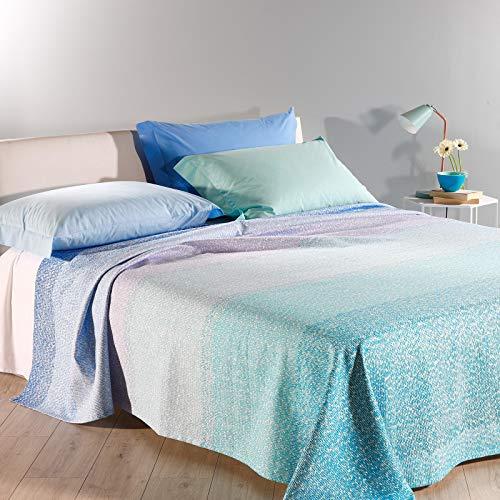 Caleffi Copriletto Non Trapuntato Matrimoniale Rainbow in Cotone Panama Blu Moderno