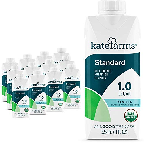 Kate Farms Adult Standard 1.0 Formula, Sole Source Nutrition, Meal-Replacement Shake or Supplemental Drink, Complete Vegan Protein Shake (Vanilla 1.0 cal/mL, Case of 12)