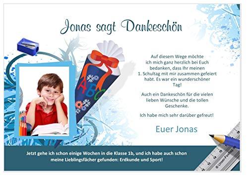 Unser-Festtag Dankeskarte Motiv Schultüte Dankeskarten zur Einschulung für Kinder Jungs und Mädchen lustig witzig - FOTO - 1 Karte - 17 x 12 cm