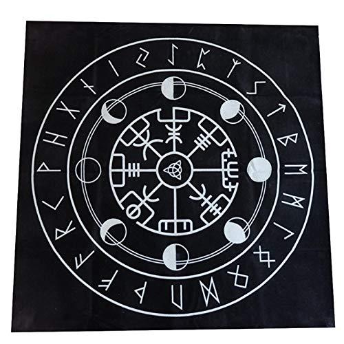 Tongdejing Mantel Tarot 49 Cm Impresiones misteriosas Accesorios Cubierta Manta Altar pagano Pentagrama Juego Mesa astrología Adivinación Triple Franela antiincrustante(Segundo)