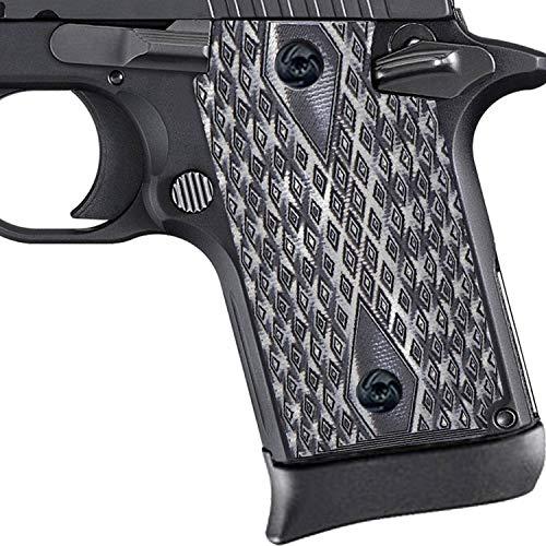 Guuun G10 Grips for Sig P938 Diamond Texture - Grey/Black