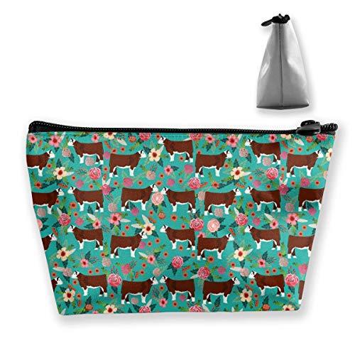 Regalo ideal - Hereford Cow Bolsa de almacenamiento trapezoidal multifunción Bolsa de cosméticos Bolsa de maquillaje pequeña Bolsa de aseo Bolsa de viaje portátil con cremallera