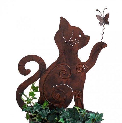 Gartenstecker Beetstecker MIEZE Katze Metall rost Höhe 50 cm