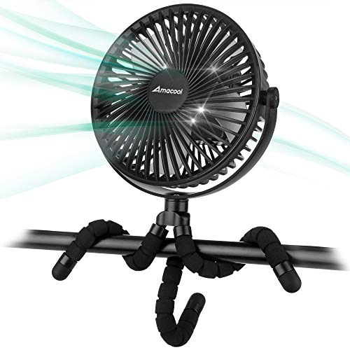 10000mAh 7 inch Battery Operated Clip on Fan Rotatable USB Fan for Baby Stroller Outdoor Camping Tent Beach Treadmill Car Golf Cart
