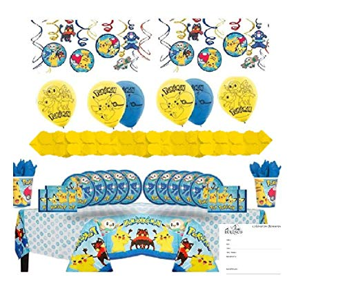 Pokemon Deluxe Birthday Party Supplies Kit for 16 Guests with Decorations