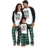 IFFEI Matching Family Pajamas Sets Christmas PJ's Letter Print Top and Plaid Pants Sleepwear 2 Years