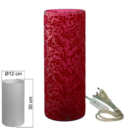 Tischleuchte Glas Ornament rot Tischlampe E14 in Zylinder Form Höhe 30cm