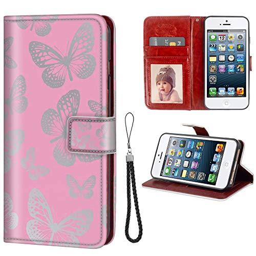 FAUNOW Funda tipo cartera para iPhone 5/5S/SE con función atril y ranuras para tarjetas para iPhone 5/5S/SE Series