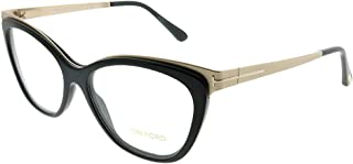 25c8b9a0edd Tom Ford FT 5374 001 Shiny Black Gold Metal Cat-Eye Eyeglasses 54mm