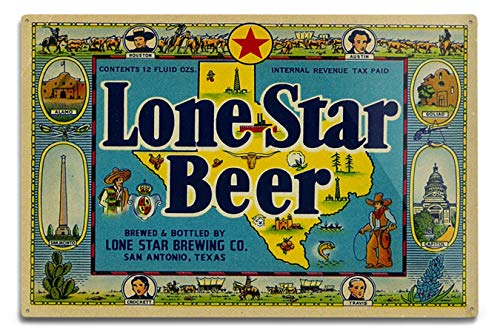 Lantern Press Lone Star Brand, San Antonio, Texas, Beer Label (12x18 Aluminum Wall Sign, Wall Decor Ready to Hang)