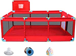 L TSA Baby Play Yard  Infant Playpens Mesh Safety Fence with Mat and Ocean Balls  Ball Pit with Zipper Door for Toddler Boys Girls  190x128x66cm