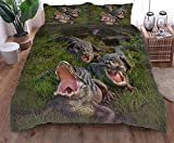 zpangg Bettwäsche Set Baumwolle Wildes Krokodil Weiche Und Angenehme Mikrofaser Bezug Kissenbezüge 135×210cm