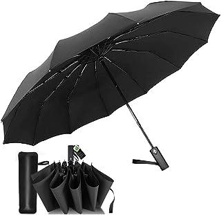 折りたたみ傘 頑丈な12本骨 自動開閉 おりたたみ傘 メンズ 大きい 風に強い 高強度 折れにくい 超撥水 晴雨兼用 折り畳み傘 四角形ハンドル 収納ポーチ付き (ブラック)