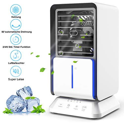 Mini Mobile Klimagerät, infray Ventilator mit Wasser Kühlung, mini Klimaanlage air cooler oszillierend 90°, 3 in 1 Luftkühler, Luftbefeuchter, ventilator mit 320ML Wassertank, 3 Stufen 3 Timer
