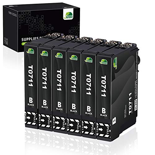 JARBO 6 Nero Sostituzione per Cartucce Epson T0711 Compatibili con Epson Stylus SX218 SX400 SX200 D92 DX4400 DX4450 DX7400 DX8400 SX115 SX205 SX210 SX405 SX510W SX209 SX215 SX100 SX105 SX110 SX515W