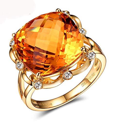 Blisfille Anillo Compromiso Mujer Diamante Joyería Anillo 18 Kilates de Citrino Anillo de Oro,Talla de 12 (Tamaño Personalizable)