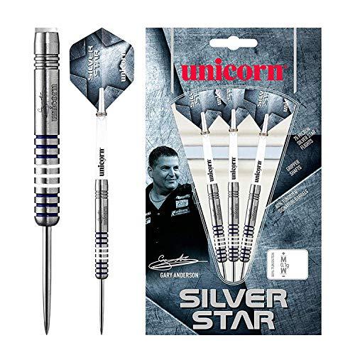 Unicorn Silver Star Gary Anderson Steel Dart, 80% Tungsten, 24g