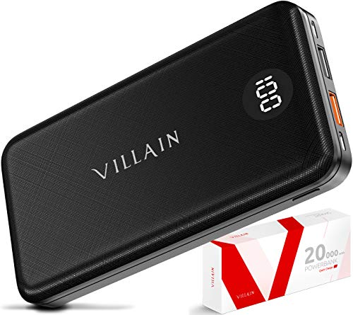 VILLAIN 20000mAh Power Bank【USB C Input & Output】 PD 3.0 18W Portable Charger Qualcomm Quick Charge with 3 Inputs & 3 Outputs - Fast Charging Cell Phone External Battery Pack for iPhone, Android
