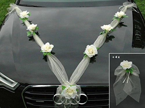 Autoschmuck Organza M + Schleife Auto Schmuck Braut Paar Rose Deko Dekoration Hochzeit Car Auto Wedding Deko Ratan Girlande PKW … (Ecru Ecru)