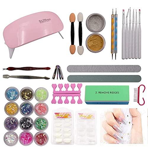 Uñas de Gel Accesorio para Manicura UV Gel Uñas Postizas Lima de Uñas DIY Uña Arte Herramiento para Nail Art Juego Completo Kit,Conjunto de Brillo de uñas