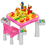 burgkidz Toddler 5-in-1 Multi Activity Table Set, Kids Play and Learn Table with 1 Chair and 128 Pieces Large Building Blocks, Compatible with All Major Brands, Pink Lace Desk for Princess Girls