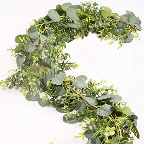 Falflor 2 Pcs Seperated Eucalyptus Greenery Garland 13Ft/Total Silk Artificial Garland for Wedding Table Centerpiece Party Home Decoration(2Pcs)