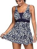 PANOZON Mujer Vestido de Traje de Baño Diseño de Escote en V Estilo de Falda Mar y Piscina (5X-Large, Azul)