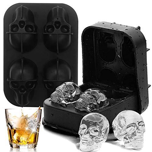 Cranio a Forma di Cubetto di Ghiaccio in Silicone - YUESEN 2 Pcs Stampo per cubetti di ghiaccio 3D a forma di teschio per whisky, ghiaccio, cocktail, birra e molto altro ancora