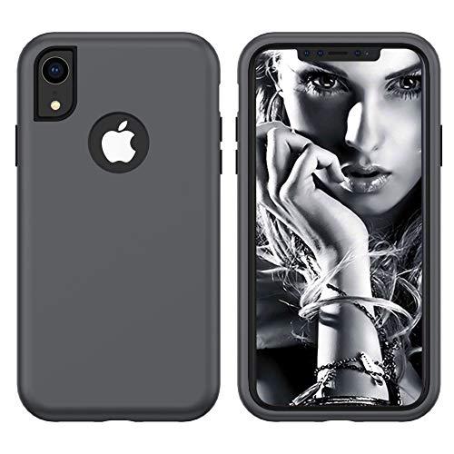 RONSHIN Für iPhoneX/XS, XR, XS, robuste, robuste 3-in-1-Hybrid-Schutzhülle Grau + schwarz iPhoneX/XS