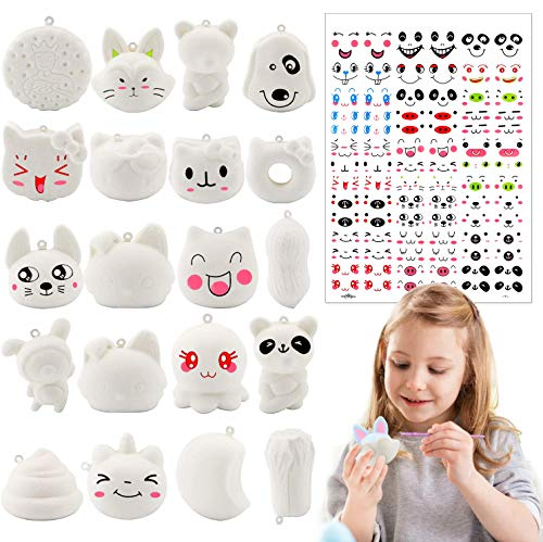 R.HORSE Random 20 Pack DIY Toy Set Kawaii Cream Scented Slow Rising Food Squeeze Bread Toys as Keychains, Phone Straps or Stress Relief Toy for Kids