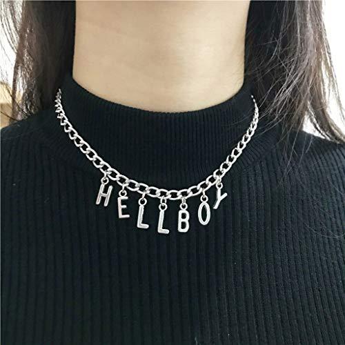 SOLEIWEI - Collar con colgante de letra Hellboy para mujer y niña