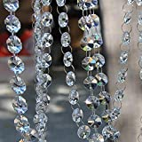 Davias 32.8 Feet Glass Crystals Beaded Trim Clear Chandelier Octagon Beads Chain for Wedding Party DIY Craft Jewelry Decoration(32.8Ft/10 Strands Crystal Beads)