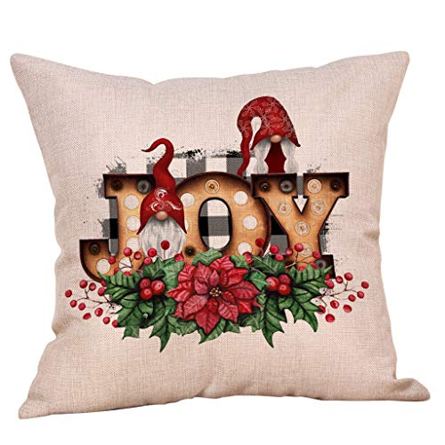 Watonic Christmas Pillow Covers 18x18, Ornaments Faceless Doll Pillow Covers Santa Claus Pattern Pillowcase Decorative (H)