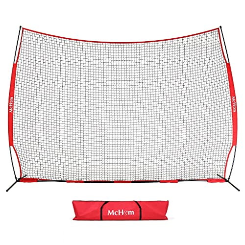 McHom 12ft x 9ft Sports Barrier Net | Backstop for Baseball, Softball, Soccer, Basketball, Lacrosse and Field Hockey | Collapsible...