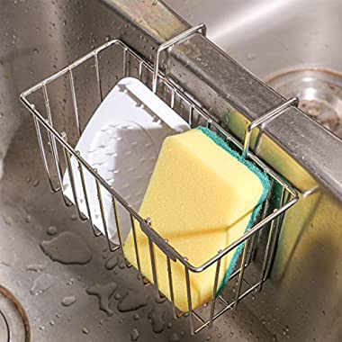 THETIS Homes Kitchen Sponge Holder, Sink Caddy Organizer Stainless Steel Holders Dishwashing Liquid Drainer Rack Bottle Brush Storage