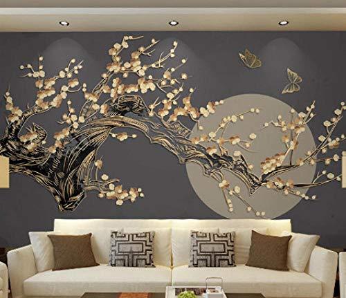 SKTYEE Murale in stile giapponese Fiore di prugna luna Carta da parati Ristorante di sushi Soggiorno Camera da letto TV Sfondo Muro Deocativo Dimensioni personalizzate, 200x140 cm (78.7 by 55.1 in)