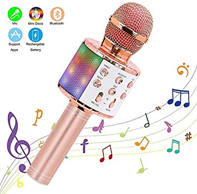 Wireless Bluetooth Karaoke Microphone, YOMYM Portable Microphone for Kids Music Player with LED Lights for Android/iPhone/PC or All Smartphones