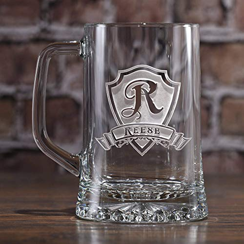 Personalized Monogram Beer Mugs, Best Groomsmen Gift, Single Glass