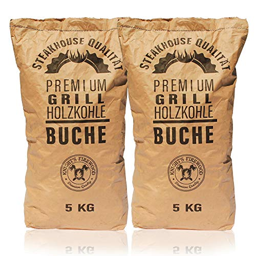 Knight's Firewood 10kg (2x5kg) Grillkohle Holzkohle Buche Buchengrillholzkohle Grillholzkohle